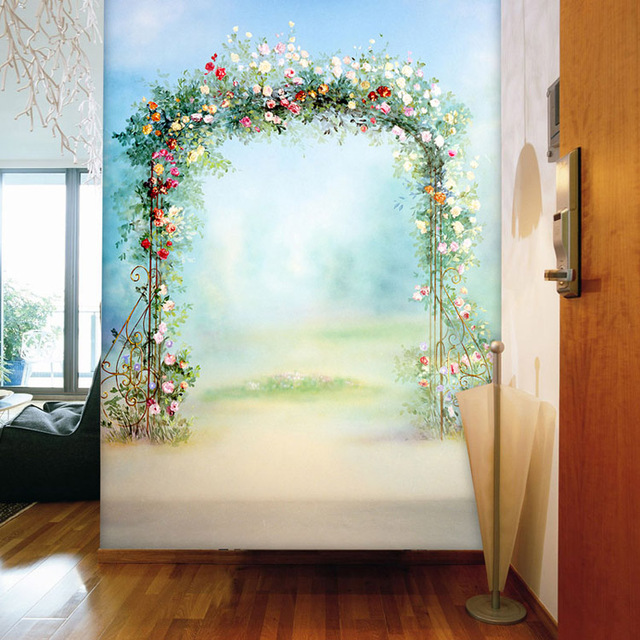 Flowers Door Photo Wallpaper Romantic Wallpaper Custom 3D Wall Murals Kids  Girls Bedroom Corridor Room Decor Part 48