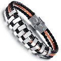 10PCS New fashion PU Leather Wrap Bracelets For Man Casual Three Layers with 316L Stainless Steel Sports Men Jewelry 20cm Long