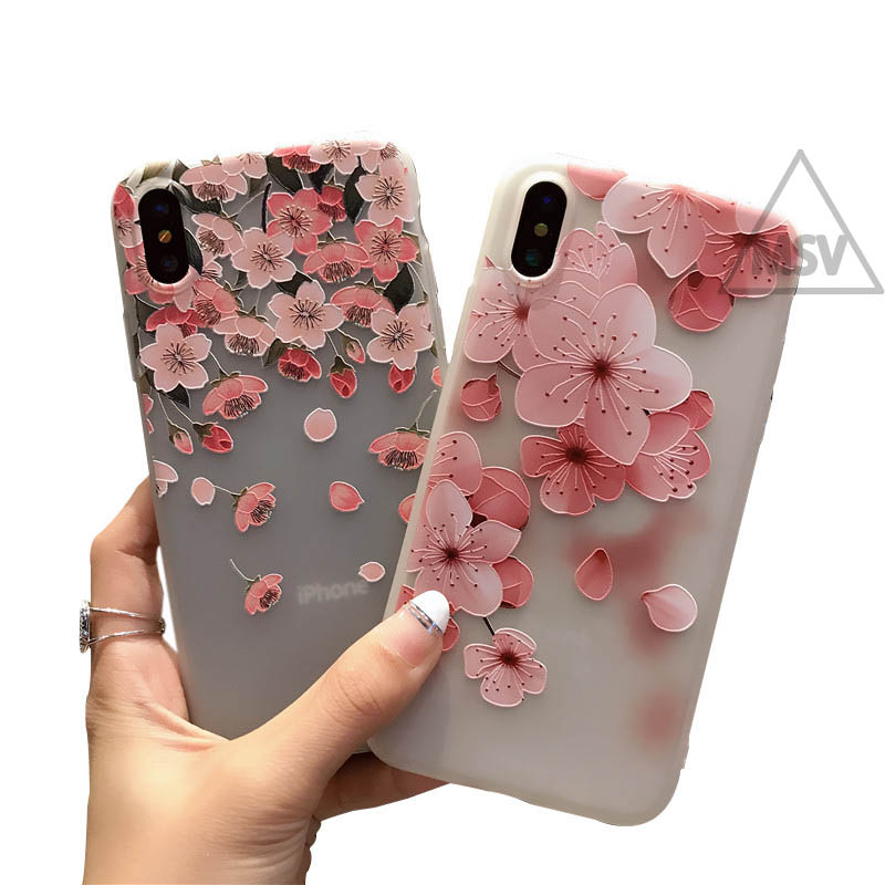3D Flower Emboss Case For iPhone 7 6 6s 8 Plus for iPhone 6 Case Patterned Soft Silicone TPU Back Cover For iPhone 7 x Case
