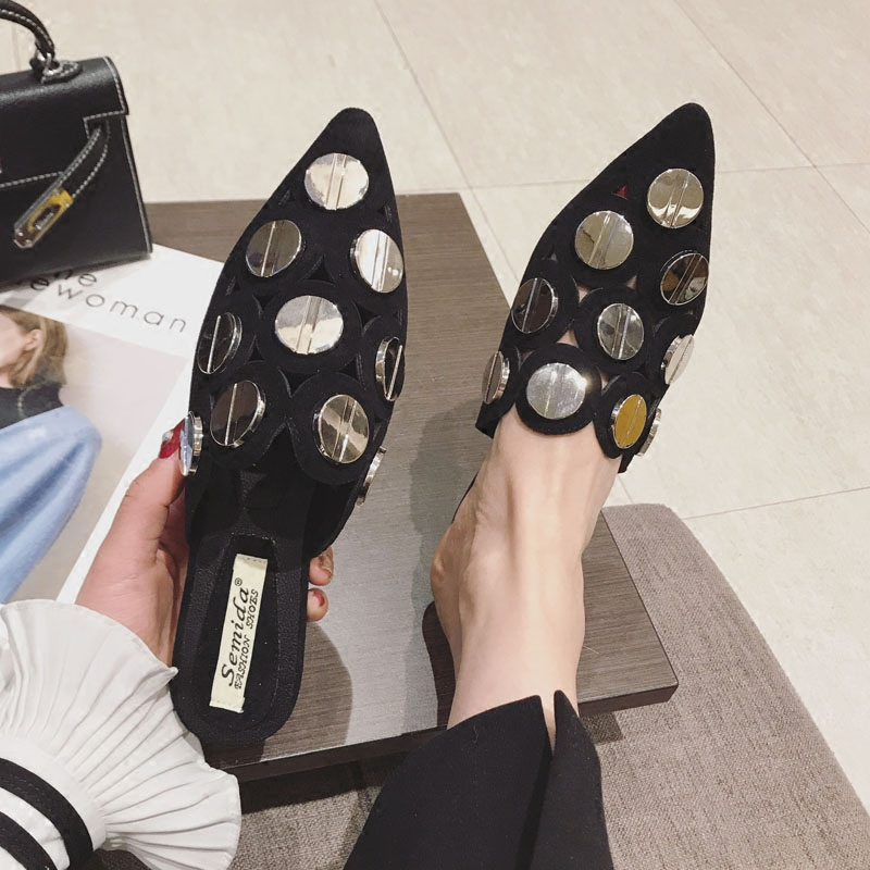 SWYIVY Woman Mules Half Slippler Shoes Pointed Toe 2019 Spring Summer New Female Fashion Casual Shoes Bling Bling Flats ShoesSWYIVY Woman Mules Half Slippler Shoes Pointed Toe 2019 Spring Summer New Female Fashion Casual Shoes Bling Bling Flats Shoes