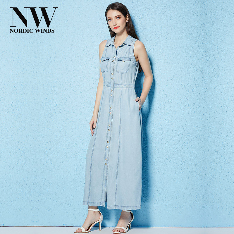 Women Long Sleeveless Denim Dresses Summer Turn-Down Collar Casual Single Breasted Solid Ankle Length Shirt Jean Dress For Women stylish turn down collar broken hole single breasted sleeveless denim dress for women