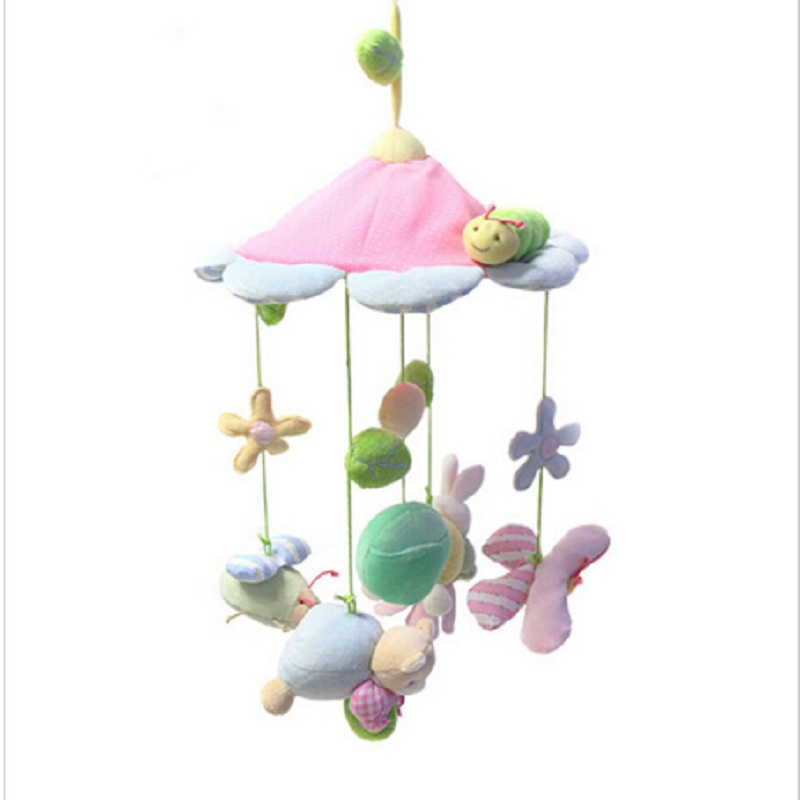 Cute Animals Pink Flower Baby Bed Toys Newborn Infant Stroller Bed Hanging Kids Toy Eyes Training Mobile Baby Car Music Rattles in Baby Rattles Mobiles from Toys Hobbies