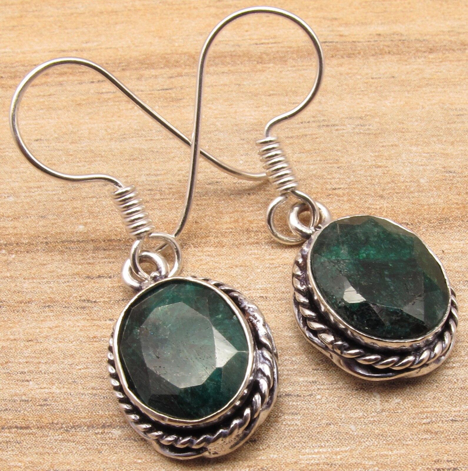 Silver Plated Beautiful GREEN Earrings ! Oval Cut Emeralds Gift ...