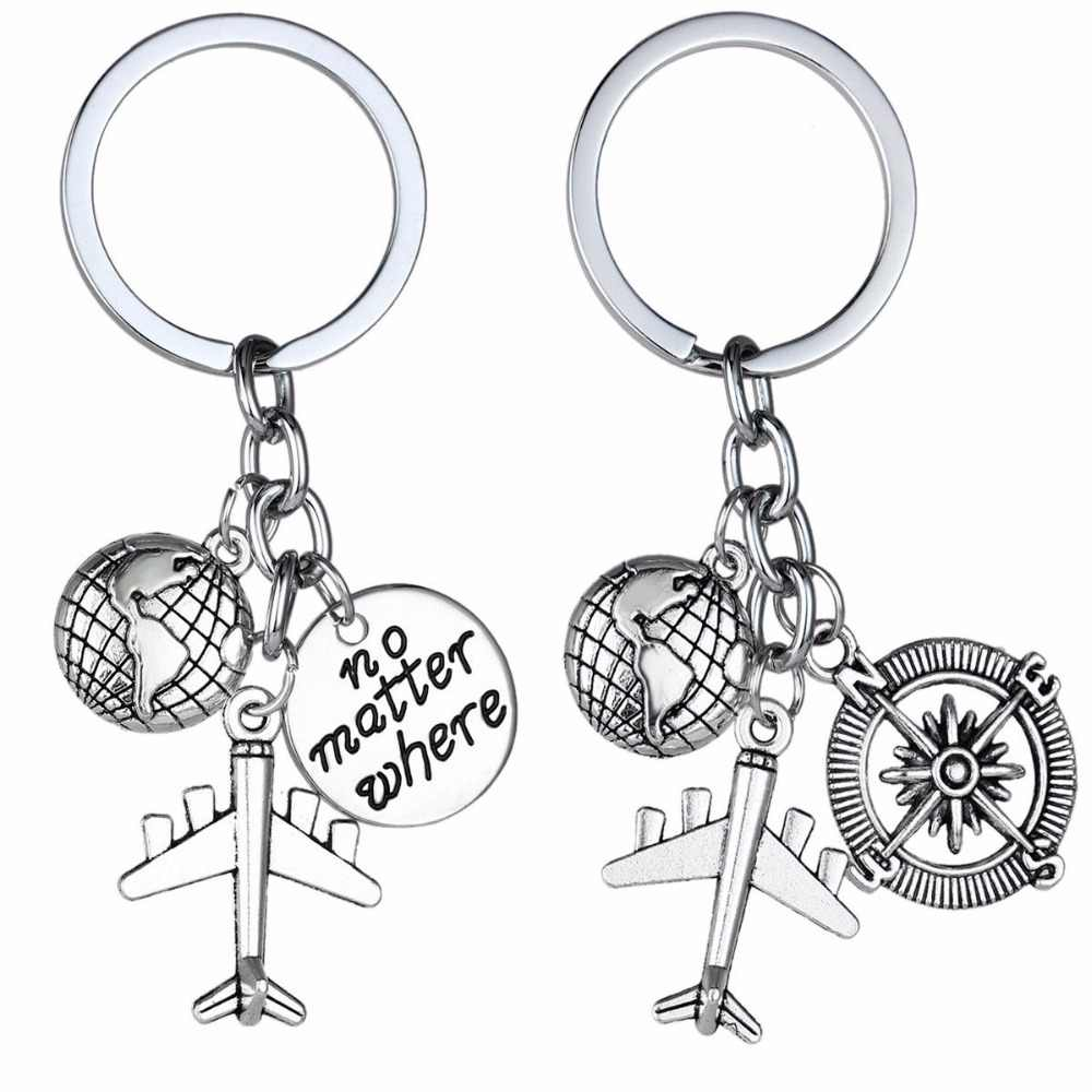 Love Travel Charm Airplane Keychain Globe Compass Passport keyring Best Friends Gift Key Chains Key Rings Wanderlust Travelers