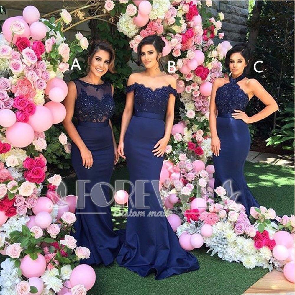 Navy Blue Applqiues Mermaid   Bridesmaid     Dress   Long 2019 Beaded Crystal Wedding Party   Dresses   Vestidos De Fiesta Abendkleider