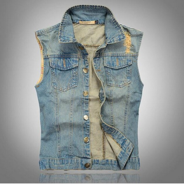 f1d785cc926 Fashion 2019 New Mens Denim Vest Vintage Sleeveless washed jeans waistcoat  Man Cowboy ripped Jacket Plus Size Tank Top