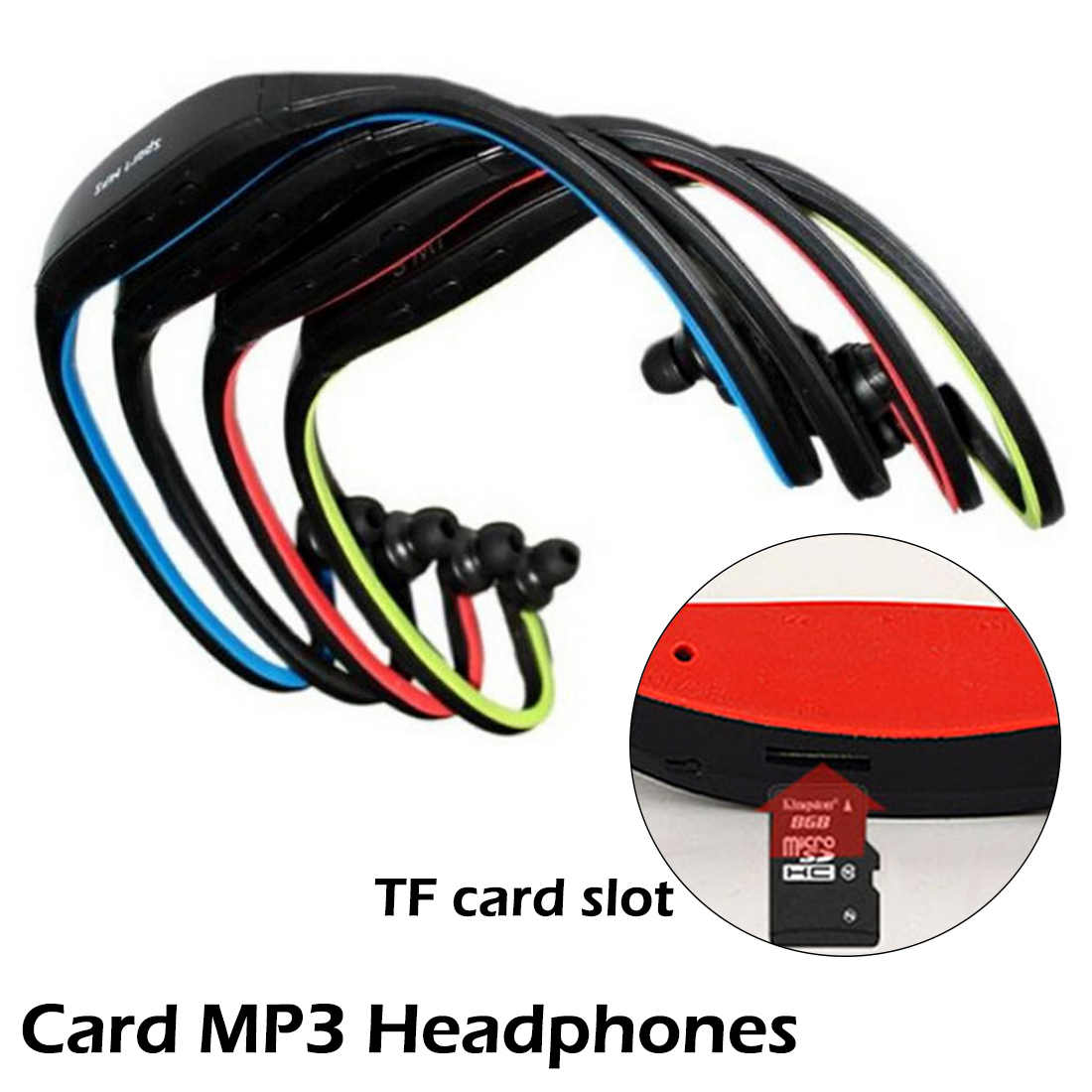 Universal Sport MP3 Player Portable Music Running Headphone Earphone Headset with TF Card Slot MP3 Music Player image
