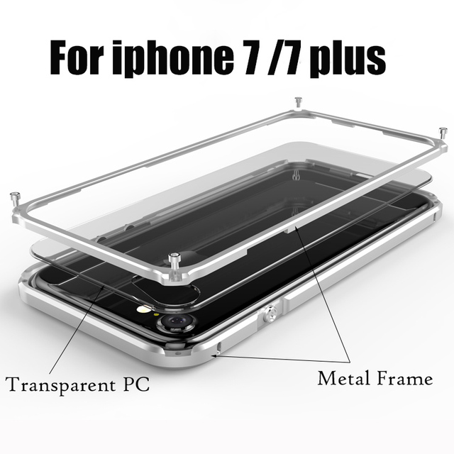 Bumper para iphone 7 metal case para iphone 7 plus luxo case de alumínio bumper quadro capa para iphone 7 plus + casos de pc de volta cobrir