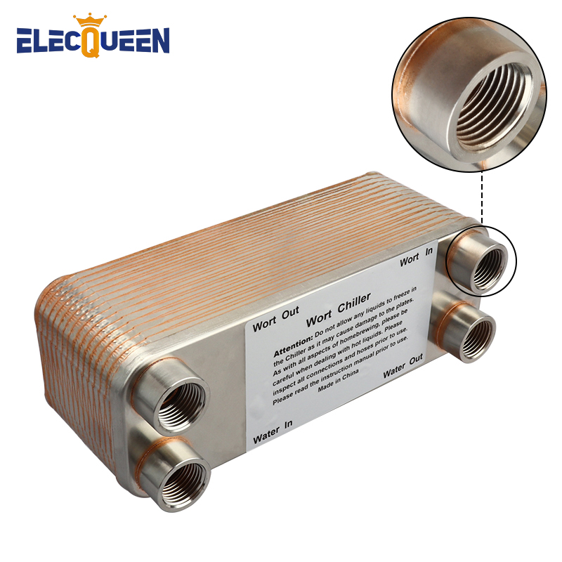 Female Thread 30 Plate Wort Chiller New Version 304 Stainless Steel Plate Heat Exchanger 20mm Garden Hose Thread Brewing Chiller