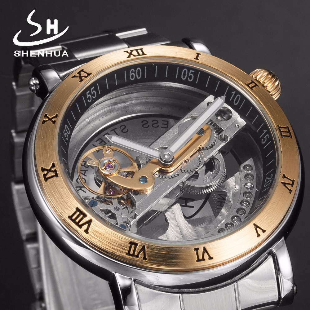 Shenhua Luxury Hollow Full Stainless Steel Silver Power Automatic Watches mens Transparent Mechanical Metal Watch Men Clock shenhua 9444 stainless steel hollow self winding mechanical analog wrist watch for men silver