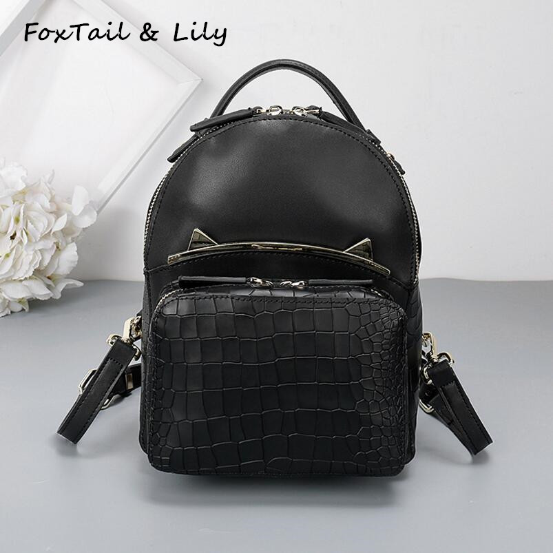 FoxTail & Lily Crocodile Pattern Women Backpack Genuine Leather Ladies Small Shoulder Bag Youth Mini Fashion Travel Backpacks free shipping fashion new women backpack high quality pu leather girl shoulder bag crocodile pattern rivet travel mini backpack