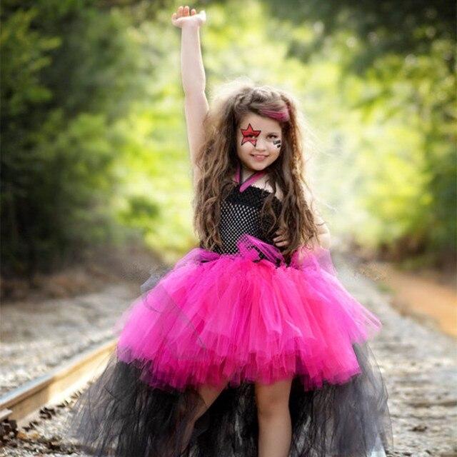 halloween costume little girl tutu tulle dress dresses rockstar queen ball gown girls dress birthday outfit