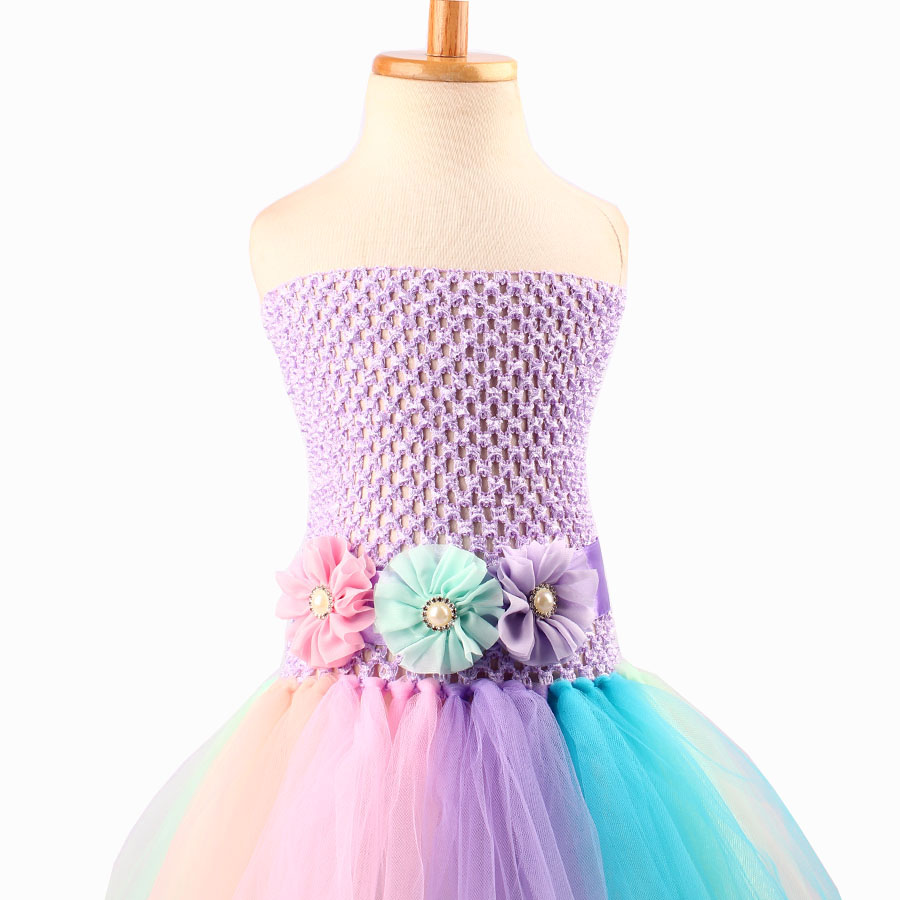 Baby Girl Flower Pony Unicorn Tutu Dress Extra Fluffy Kids Fairy Wedding Birthday Party Dresses with Hair Hoop for Cosplay (7)