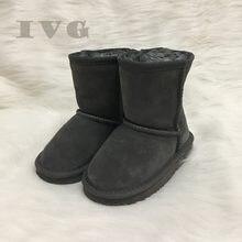 1b7c3b8ead30 EU21-35 Jungen und Mädchen Australien Stil Ugs Kinder Schnee Stiefel  Wasserdicht Slip-auf Kinder Winter Kuh Leder Stiefel Marke .