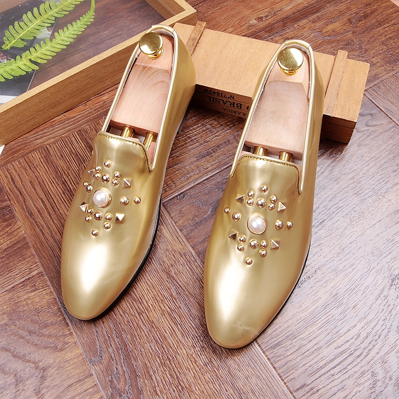 Fashion Gold Black Gray Mens Loafers Shoes Pearls Slip on Handmade Patent leather Driving Boats Shoes Flats Casual Mens Shoe Hot 3