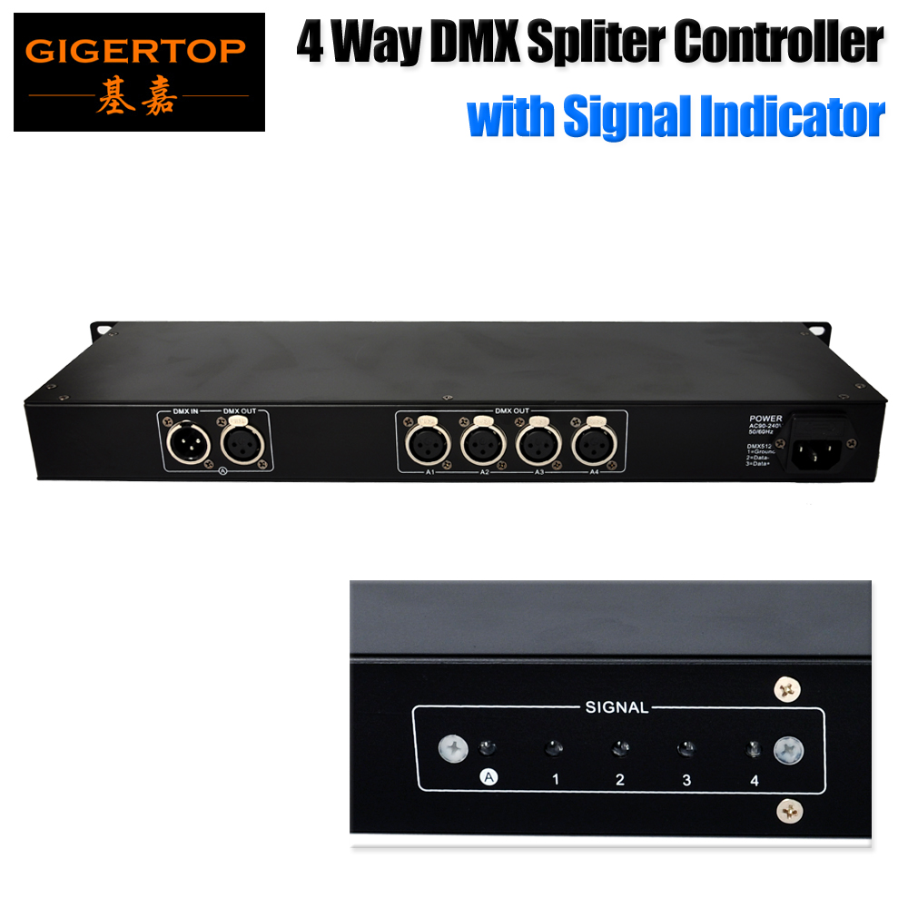 Gigertop TP D05A 4 Way DMX Spliter Compacted Size with Led Signal Indicator 3 Pin XLR Metal Socket DMX512 distribution amplifier|dmx spliter|spliter dmx|led dmx -