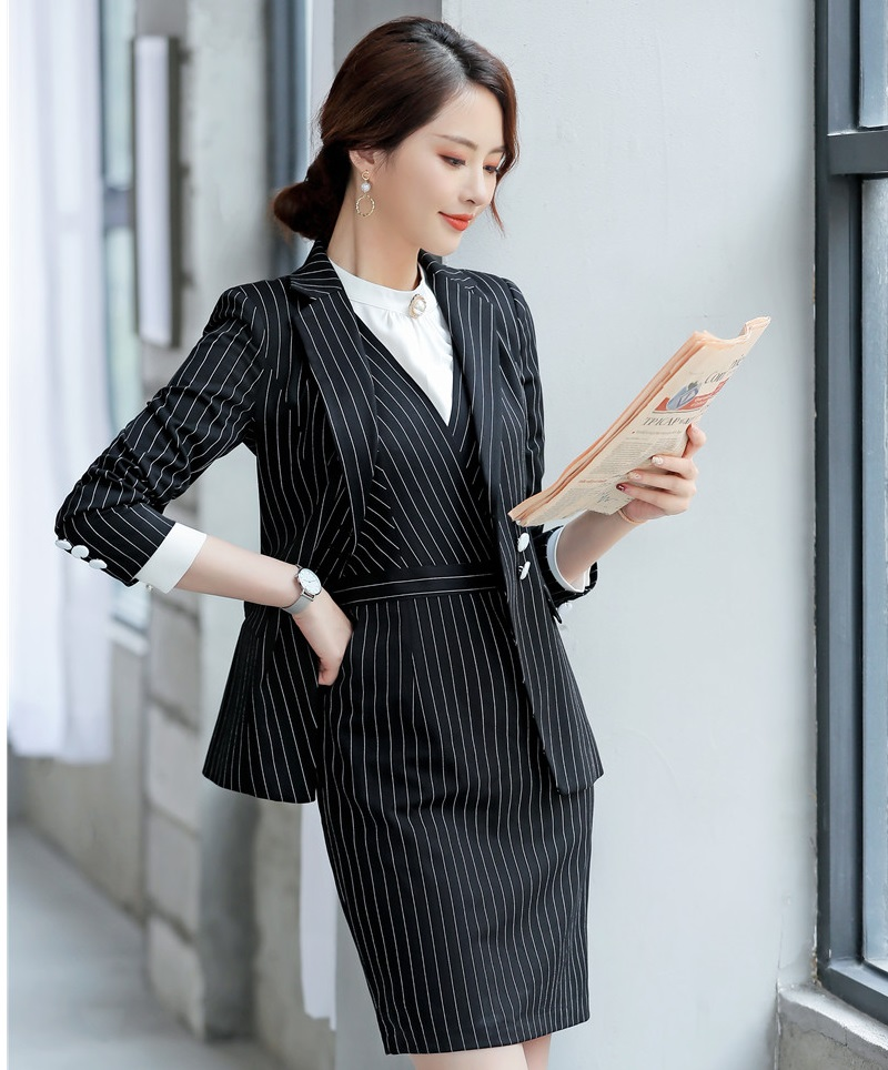 Printemps Pour Automne Blue Robe Uniforme White black Avec Hauts 2019 Bureau Formel Flammes Femmes Ol Complet Striped Travail Striped Styles Dames Vêtements Striped Et De navy Ensembles 4w8Ta4qzr