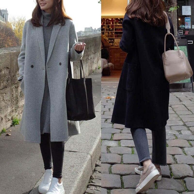 2019 ZANZEA Women Wool Blends Coat Winter Autumn Female Long Sleeve Double Breasted Long Jacket Plus Size Casual Windbreakers 4