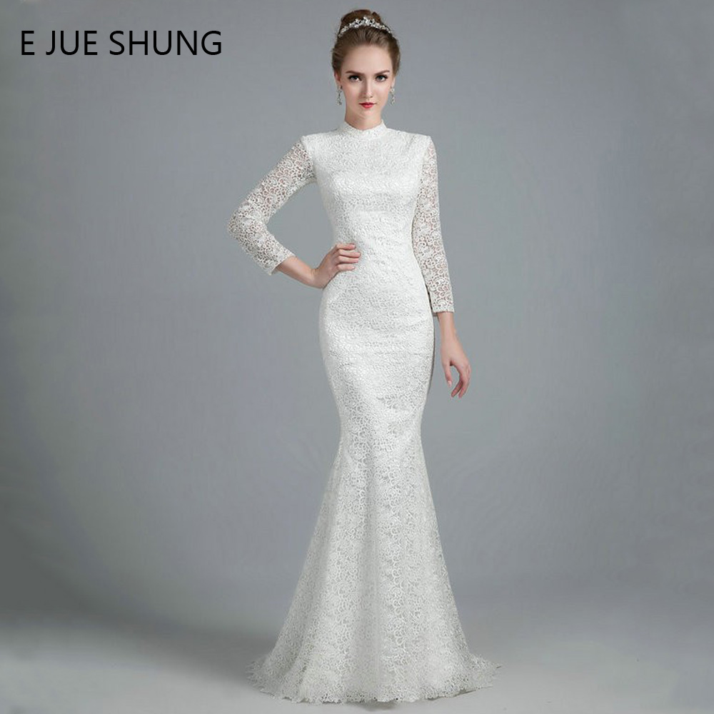 E JUE SHUNG White Vintage Thick Lace Mermaid Wedding Dresses 20 High Neck  Long Sleeves Wedding Gowns robe de mariee