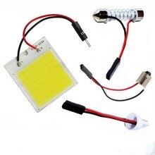 T10 W5W C5W Festoon BA9S 3 Adapter 18 24 48 chipy COB LED Auto Panel oświetleniowy żarówka do czytania wnętrza samochodu mapa lampa kopułkowa intensywna biała