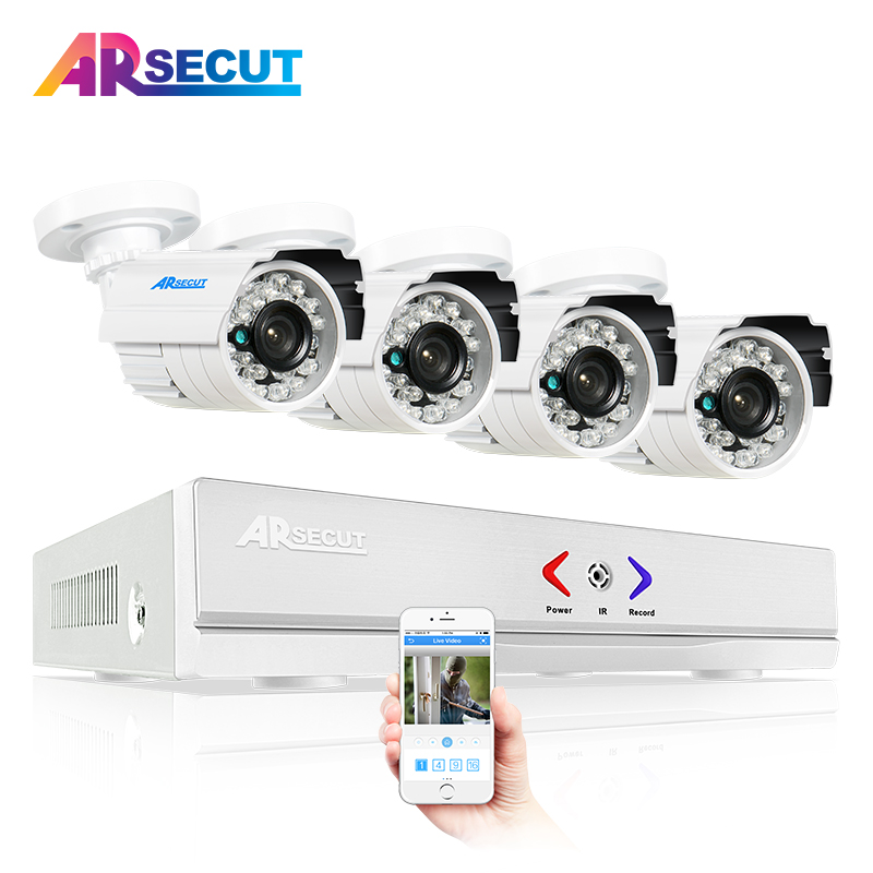 4CH CCTV System 1080N HDMI DVR 4PCS 720P 1800TVL IR Outdoor Camera Home AHD Security System Surveillance Kits Email Alert zosi 8ch cctv system 720p ahd dvr hdmi 4pcs 720p ir night vision outdoor cctv camera home security system surveillance kits