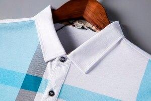 Image 3 - 2020 جديد وصول ماركة الملابس قميص بولو رجل القطن قصير الأكمام منقوشة تنفس الأعمال عادية أوم camisa حجم كبير XXXL