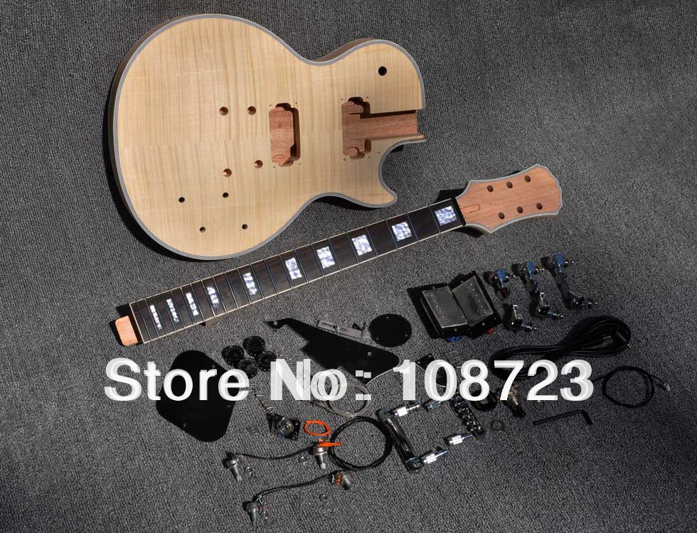 2017 Unfinished Electric Guitar Kit With Flamed Maple Top DIY guitar For Epi Custom Shop Style