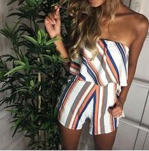 С открытыми плечами полосой элегантный комбинезон белый ремень спинки Лук Комбинезоны для девочек пикантные летние пляжные Playsuit Для женщин наряд