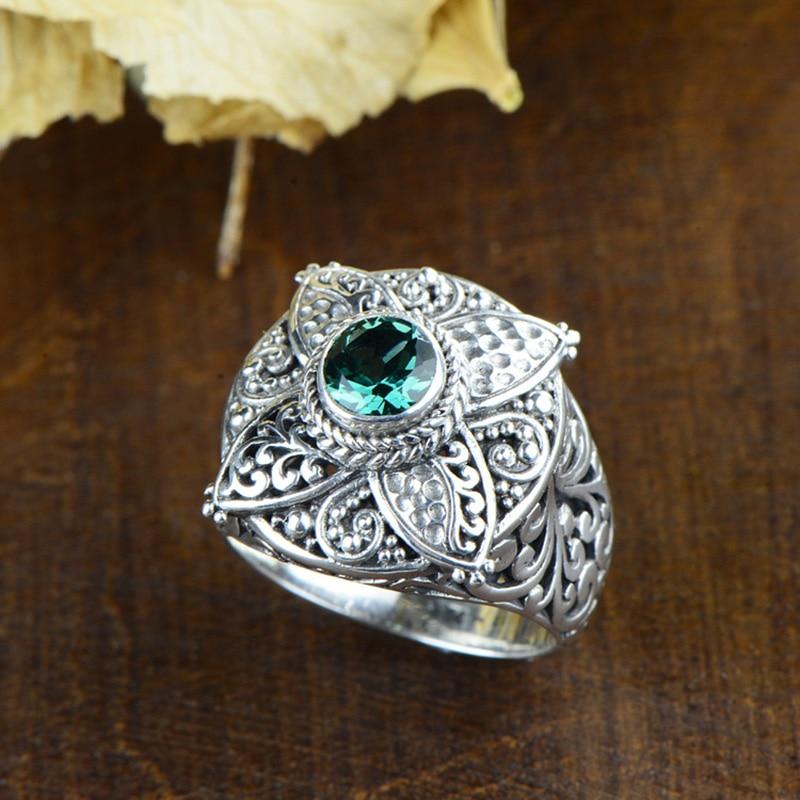 Настоящее чистое серебро 925 натуральный зеленый кристалл драгоценный камень большой Винтаж под старину для женщин Интимные аксессуары