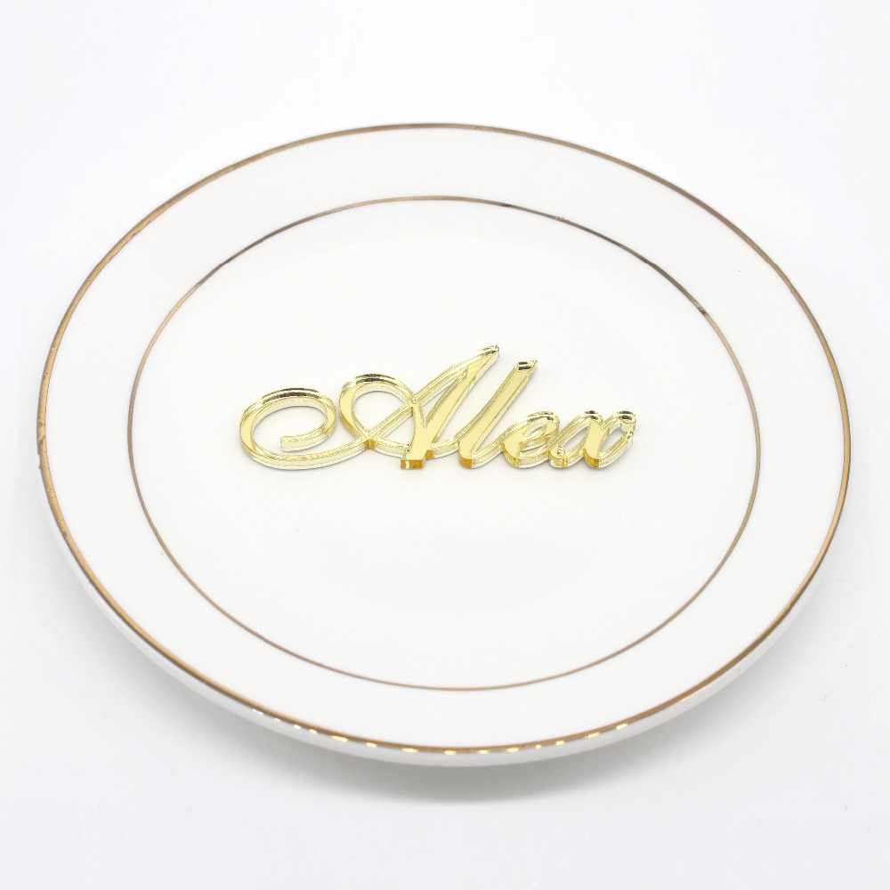 1X Personalised Pernikahan Acara Tempat Duduk Nama Tempat Perak Emas Cermin Akrilik Kayu Laser Cut Nama Meja Pesta Centerpieces