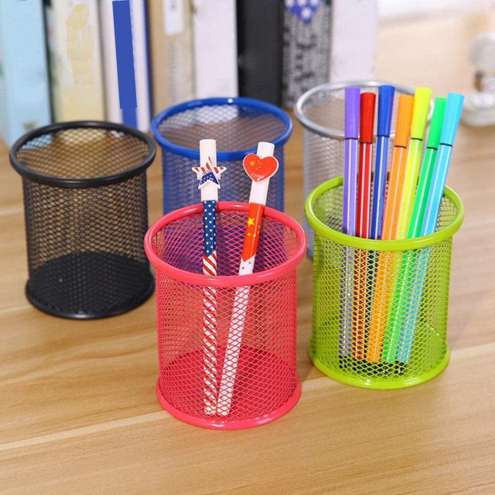 New Metal Hollow Pen Pencil Holder Vase Pot Tidy Stationery Storage Desk Container