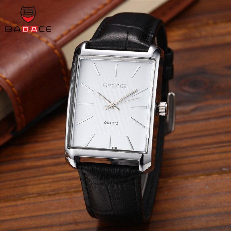 BADACE Men Watches 2018 Luxury Brand Mens Wristwatches Quartz Watch Business Casual Leather Strap Waterproof Clock 8888