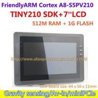 Oferta FriendlyARM S5PV210 corteza A8 Placa de desarrollo TINY210 SDK + 7 pulgadas capacitiva pantalla táctil 512 MRAM + 1G SLC Flash Android4.0