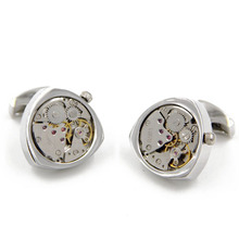 Letpon Functional Watch Cufflinks Silver Heart Design cufflinks men's fashion Gift cuff links wholesale Free Shipping