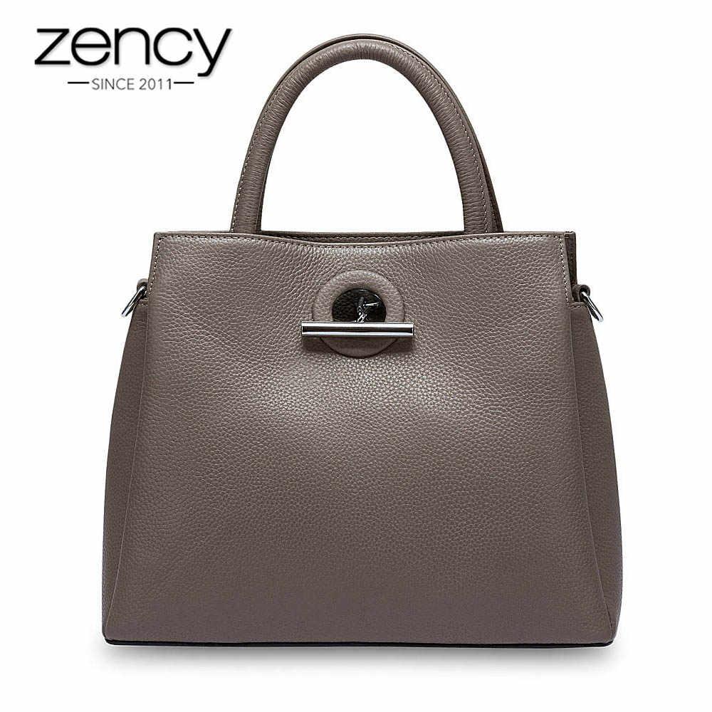 Zency Moda Mulheres Sacola 100% Bolsa do Couro Genuíno Preto Senhora Crossbody Mensageiro Bolsa de Alta Qualidade Sacos de Ombro