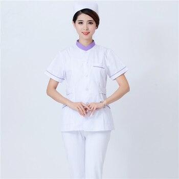 High Quality Stand Collar Nurses Clothes Short Sleeve Hospital Beauty Salon Pharmacy Dental Clinic Uniforms Medical Overalls