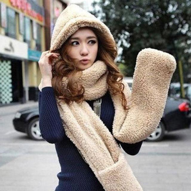 3 IN1 invierno mujer señora sombrero caliente felpa bufanda capucha Cap sombrero  Bufandas bufanda Guantes color 1e72e793108