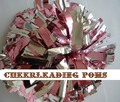 "cheerleading Pom poms 3/4""x 6""~custom color metallic pink and metallic silver handmade new hot sale mini order 10 pieces"