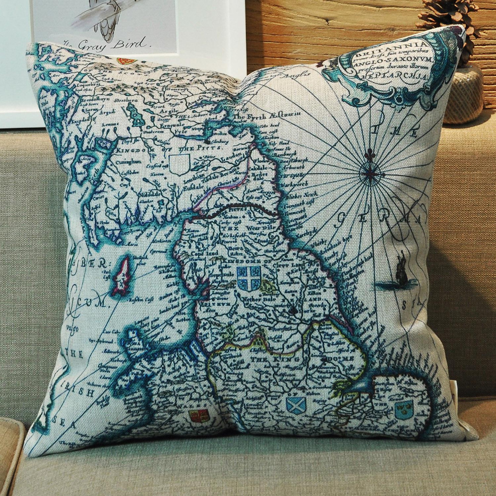 hot sale high quality cushion cover american country style retro nautical map pillows printing