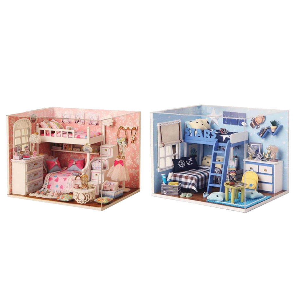 New Arrivals Kids Toy 2 Sets DIY Miniature Dollhouse Wooden with Furniture Set Doll Room Pretend Play Classic Toy Dolls Gift