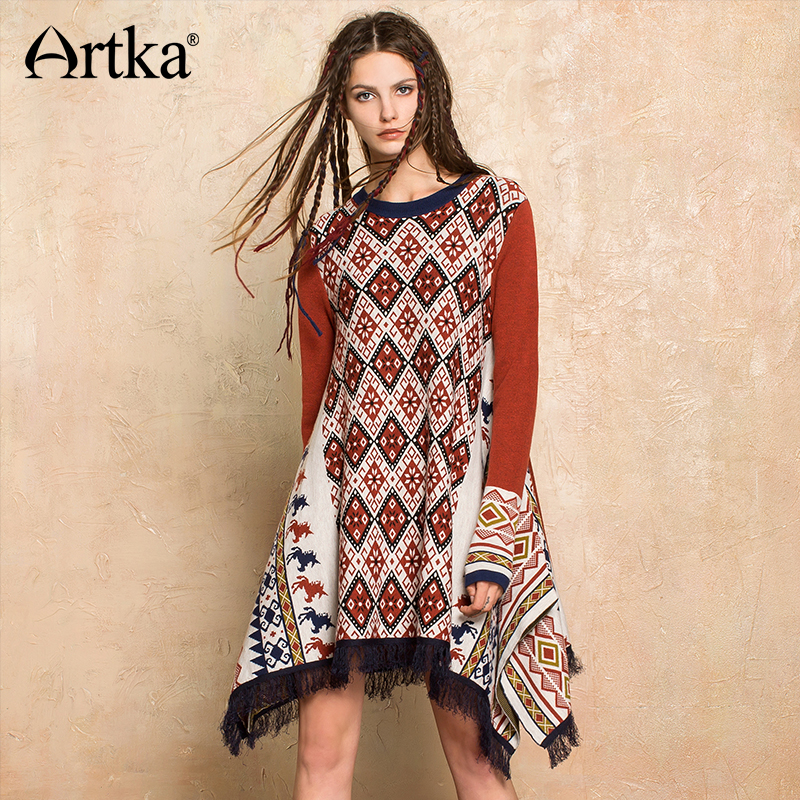 Artka 2017 Women S Wool Pullover Sweater Vintage Tassel Poncho Female Long Cape Jumper Asymmetrical Bohemian