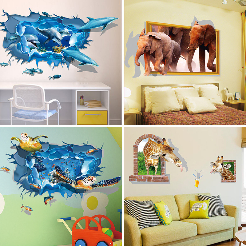 New 3D Kids Cartoon Sharks Turtles Giraffe Dolphin Penguin Wall Sticker TV  Background Children Bedroom Decoration. Online Get Cheap Dolphin Bedroom Decor  Aliexpress com   Alibaba Group