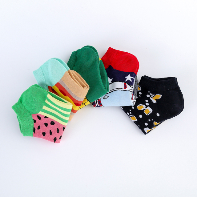 Jhouson New Arrival Men's Combed Cotton Summer Ankle  Watermelon Corn Pattern Colorful Novelty Casual Boat Socks 6