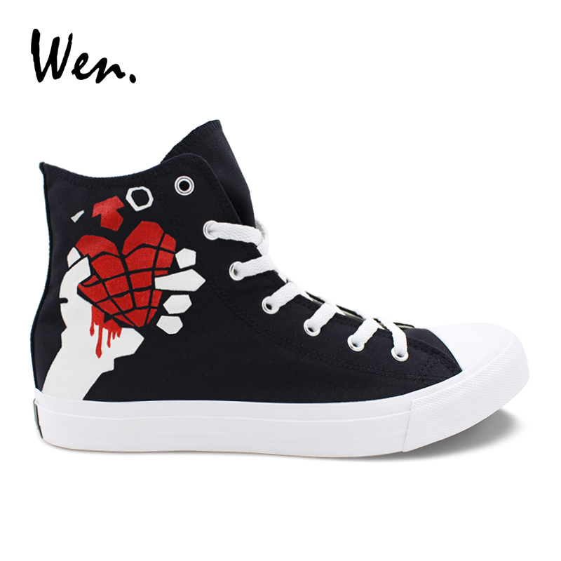 Wen Design Hand Painted Shoes Slogan Green Day American Idiot Custom High Top Black Women Sneakers Casual Men Canvas Shoes wen design custom hand painted canvas fashion shoes colorful lipsticks high top shoes sneakers white graffiti shoes men women
