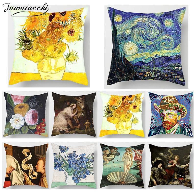 Pintura de Van Gogh Impressão Fuwatacchi Planta Girassol Capa de Almofada Travesseiro Sofá Tampa Da Cadeira Casa Decoração Fronhas Quadrados
