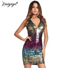 Ruiyige Women Sexy Sequin Deep V-Neck Club Dress Bodycon Party Summer 2018 Stretch Back Zipper Bright Prom Evening Mini Vestidos