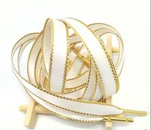 New Arrival unique grip design 1 pair Widened Shoe Lace with gold lurex Suitable for different type of shoes(China)