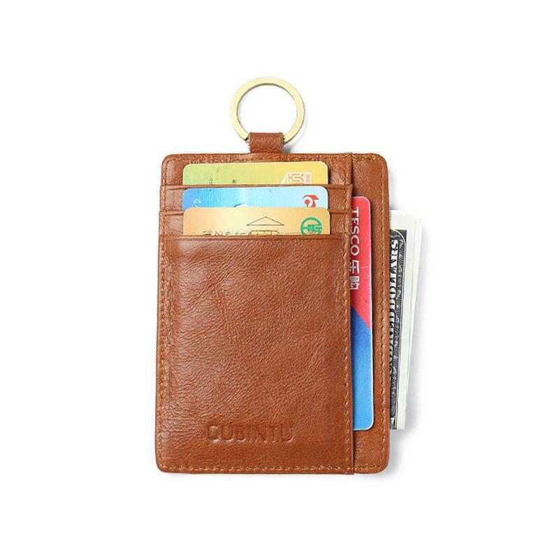 Rfid Slanke echt leer Mannen minimalistische portemonnee met sleutelhanger Broekzak kaart portemonnee Reizen Porte Carte creditcardhouders