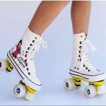 Высокое качество! роликовые коньки парусиновая обувь со вспышками колеса двойная линия коньки для взрослых 4 колеса две линии роликовые коньки обувь Patine