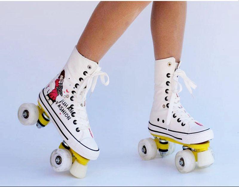 Haute qualité! Patins à roulettes Toile Chaussures Avec Flash Roues Double Ligne Patins Adulte 4 Roues Deux ligne Roller chaussures Patine
